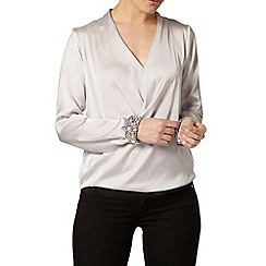 Dorothy Perkins - Silver embellished cuff blouse