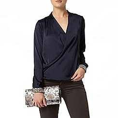 Dorothy Perkins - Navy embellished cuff blouse