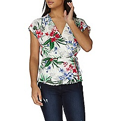 Dorothy Perkins - Ivory tropical wrap top