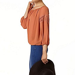 Dorothy Perkins - Terracotta red lace blouse