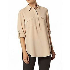 Dorothy Perkins - Stone pocket roll sleeve shirt
