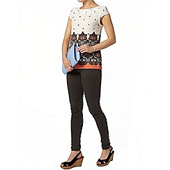 Dorothy Perkins - Ivory paisley border tie back top