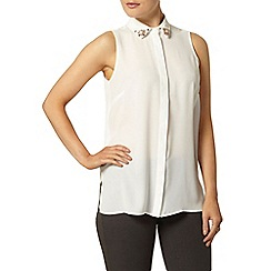 Dorothy Perkins - Ivory embellished collar shirt