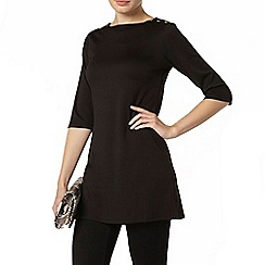 Dorothy Perkins - Black button detail tunic top