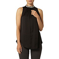 Dorothy Perkins - Black satin long line top