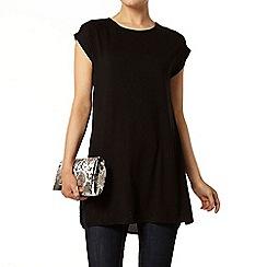 Dorothy Perkins - Black jersey/woven long line t-shirt