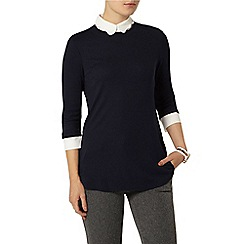 Dorothy Perkins - Navy scallop collar 2 in 1 jersey top