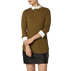 Dorothy Perkins - Khaki scallop jersey 2-in-1 top
