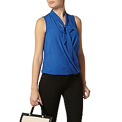 Dorothy Perkins - Blue sleeveless wrap pussybow blouse