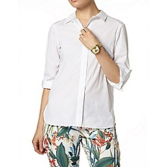Dorothy Perkins - White 3/4 sleeve cotton shirt