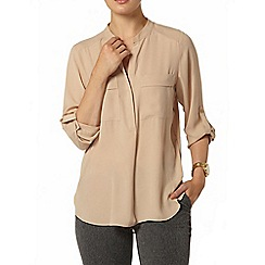 Dorothy Perkins - Stone two pocket roll sleeve shirt