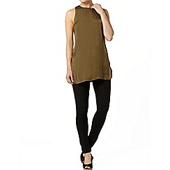 Dorothy Perkins - Khaki hammered satin tunic