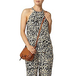 Dorothy Perkins - Black and white daisy high neck cutaway top