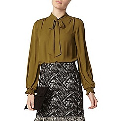 Dorothy Perkins - Olive pussybow blouse