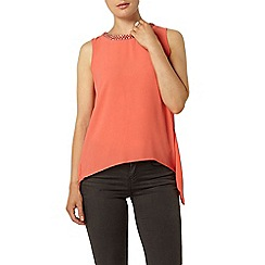 Dorothy Perkins - Coral embellished split back top