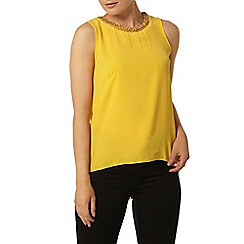 Dorothy Perkins - Yellow embellished split back top