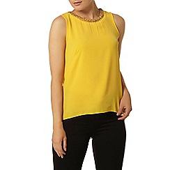 Dorothy Perkins - Yellow embellished split back top