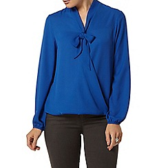 Dorothy Perkins - Blue wrap pussybow blouse
