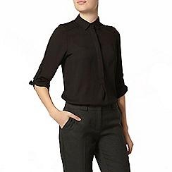 Dorothy Perkins - Black collar roll sleeve blouse