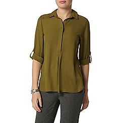 Dorothy Perkins - Olive collar rollsleeve shirt