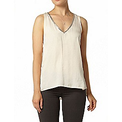 Dorothy Perkins - Ivory glitter neck trim top