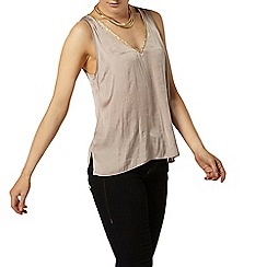 Dorothy Perkins - Taupe glitter neck trim top