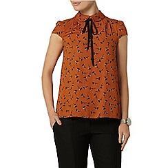 Dorothy Perkins - Orange print leaf tie top