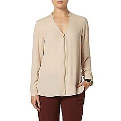 Dorothy Perkins - Camel zip front long sleeve top