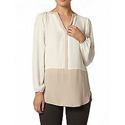 Dorothy Perkins - Camel contrast hem long sleeve shirt