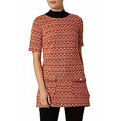 Dorothy Perkins - Orange textured tunic top