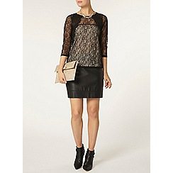 Dorothy Perkins - Black and nude lace long sleeve top