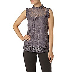 Dorothy Perkins - Grey lace high neck top
