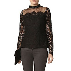 Dorothy Perkins - Black beaded lace top