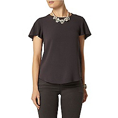 Dorothy Perkins - Grey soft split back t-shirt