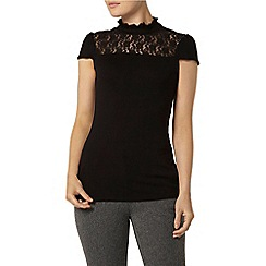 Dorothy Perkins - Black lace insert top