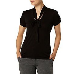 Dorothy Perkins - Black pussybow jersey top
