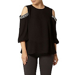 Dorothy Perkins - Black embellished cut out top