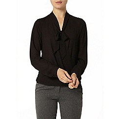 Dorothy Perkins - Black wrap pussybow blouse