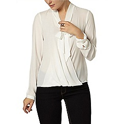 Dorothy Perkins - Ivory wrap pussybow blouse