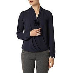 Dorothy Perkins - Navy wrap pussybow blouse
