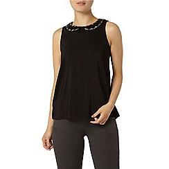 Dorothy Perkins - Black embellished collar top