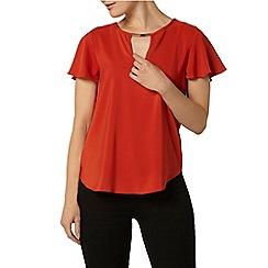Dorothy Perkins - Orange keyhole t-shirt