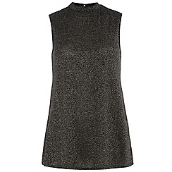 Dorothy Perkins - Tall black shimmer tunic top