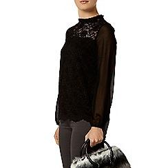 Dorothy Perkins - Black scallop lace top