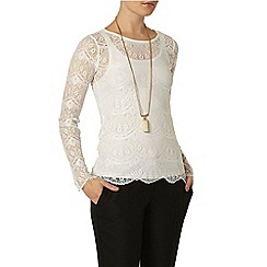 Dorothy Perkins - Ivory button back top