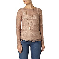Dorothy Perkins - Taupe button back top