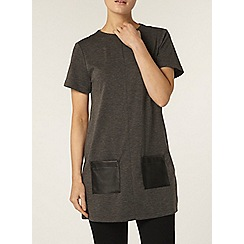 Dorothy Perkins - Grey leather look pocket tunic