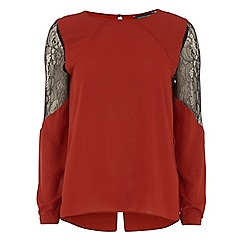 Dorothy Perkins - Tall rust lace insert blouse