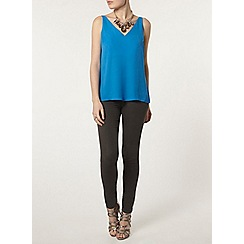 Dorothy Perkins - Blue deep v neck camisole top