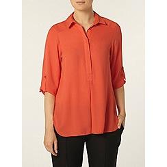 Dorothy Perkins - Coral collar rollsleeve shirt